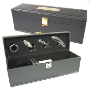CR-018 Single Bottle Faux Leather Wine Box with 4 pcs Wine Set